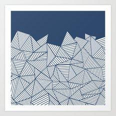 Abstract Mountain Navy Art Print
