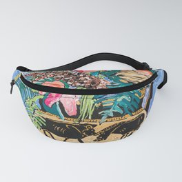 Tropical Banksia Bouquet after Matisse in Greek Boar Urn on Pale Painterly Blue Fanny Pack