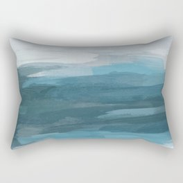 Teal Ocean Blue Gray Abstract Nature Art Painting Rectangular Pillow