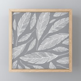 Float Like A Feather - Grey Framed Mini Art Print