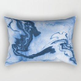 Chiharu - spilled ink marble paper marbling texture swirl indigo water ocean nature pool wave tide Rectangular Pillow