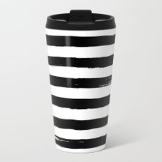 black paint stripes Metal Travel Mug