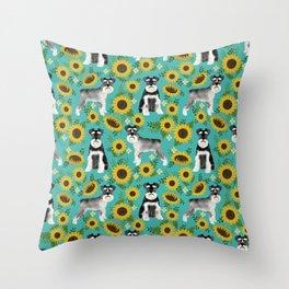 Schnauzer sunflowers spring summer floral dog breed dog pattern pet friendly Throw Pillow