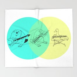Keytar Platypus Venn Diagram Throw Blanket