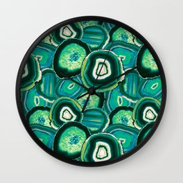 Geode Slices No.1 in Emerald + Malachite Green Wall Clock