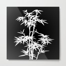 Black and White Bamboo Silhouette Metal Print