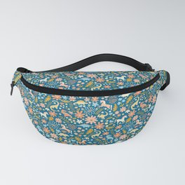 Dinosaurs + Unicorns in Blue + Coral Fanny Pack