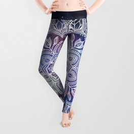 Boho Mandala - White on Galaxy Leggings