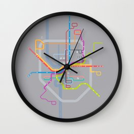 Simplified Columbus Transit Map Wall Clock