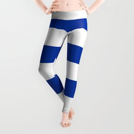 Dark Princess Blue and White Wide Horizontal Cabana Tent Stripe Leggings