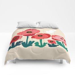 Poppy flowers and bird Comforters