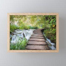 Wooden Path Across Stream in Plitvice Framed Mini Art Print