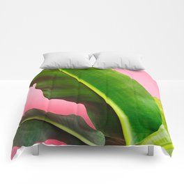 Banana Palm Leaves Pink Background Comforters