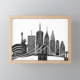Linocut New York Framed Mini Art Print