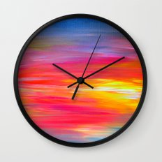 BRIGHT HORIZONS Bold Colorful Rainbow Pink Yellow Blue Abstract Painting Sunrise Sunset Stripes  Wall Clock