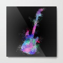 Guitar watercolor splashes on black background Metal Print