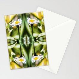 Beautiful small common Daisy flowers macro surreal shaped symmetrical kaleidoscope Stationery Cards