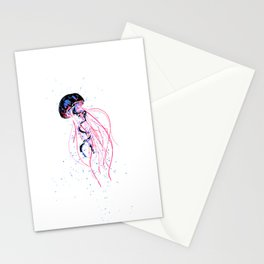 the dance - jellyfish and bubble (pink / purple) Stationery Cards
