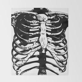 Skeleton Ribs | Black and White Throw Blanket