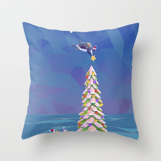 Christmas Flight Throw Pillow
