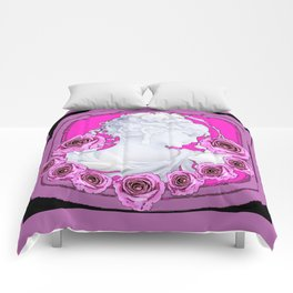 Smell the Roses in Puce-Fuchsia,Black-White Design Colors Comforters
