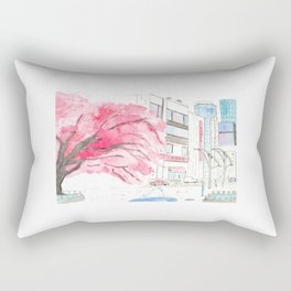 Tokyo Cherry Blossoms Watercolor Sketch - Ueno Park Rectangular Pillow