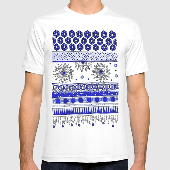 Yzor pattern 007-2 blue T-shirt