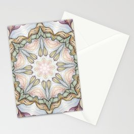 purple flowers hand drawn and  kaleidoscope mandala Stationery Cards