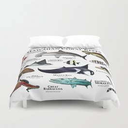 Animals of the Hawaiian Coral Reefs Duvet Cover