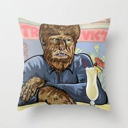 Wolfman drinking a pina colada at Trader Vics. Throw Pillow