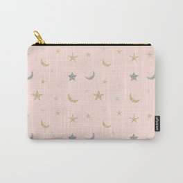 Gold and silver moon and star pattern on pink background Carry-All Pouch
