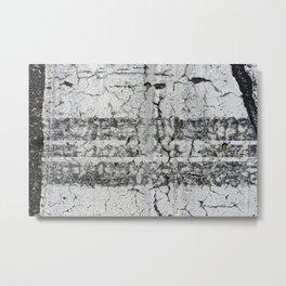 Urban Texture Photography - Road Markings Tire Tracks Metal Print