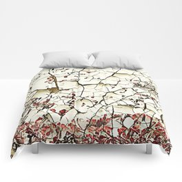 Cracked Paint White Textured Abstract Comforters