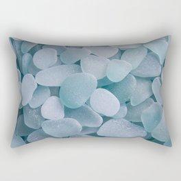 Aqua Sea Glass - Up Close & Personal Rectangular Pillow