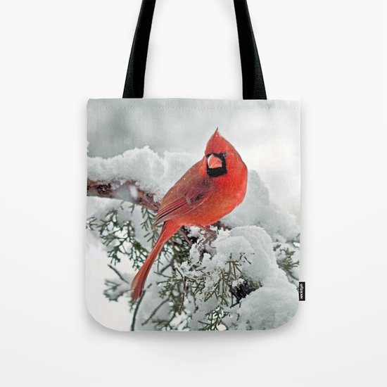 Cardinal on Snowy Branch #3 Tote Bag