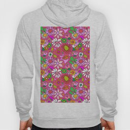 60's Lovers Floral in Lipstick Pink Hoody