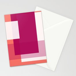Living Coral + Raspberry | Pacifica Color Block Stationery Cards