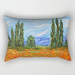 Poppy Meadow, Poppy Field Impressionist Painting Rectangular Pillow