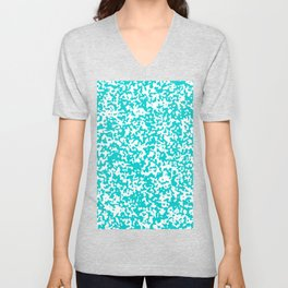 Small Spots - White and Cyan Unisex V-Neck