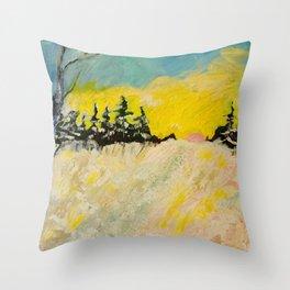 Trail in Deep Snow Throw Pillow