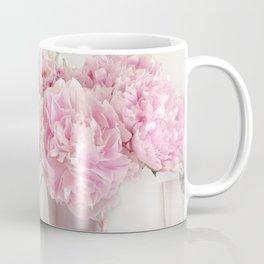 Shabby Chic Pink Peonies White Mirror Romantic Cottage Prints Home Decor Coffee Mug
