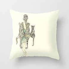 animalia cat Throw Pillow