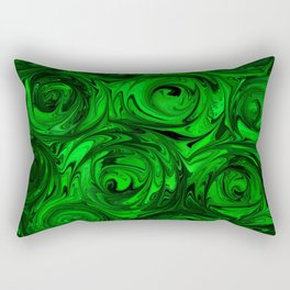 Apple Green and Onyx Glass Swirl Abstract Rectangular Pillow