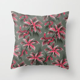 Snake Palms - Light Vintage Coral Throw Pillow
