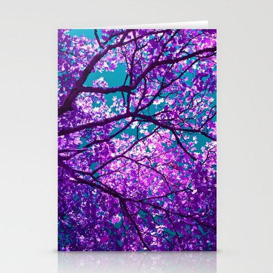 purple tree II Stationery Cards