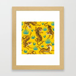 Yellow Tiger Tropical Pattern Framed Art Print