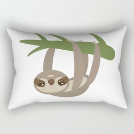 Three-toed sloth on green branch on white background Rectangular Pillow