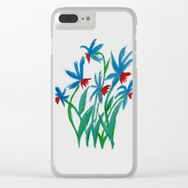 Hand painted watercolor floral blue and red flowers Clear iPhone Case