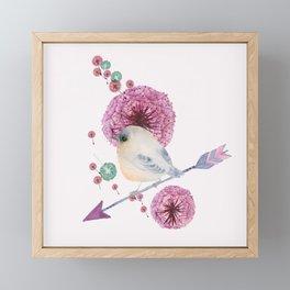 Cute Bird and Dandelion Framed Mini Art Print