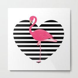 Flamingo on heart Metal Print